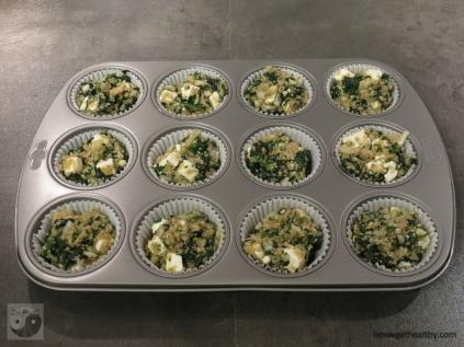 Quinoa-Spinat Muffins mit Feta Schritt 1b