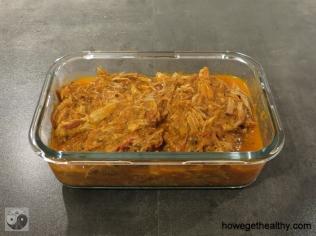 Pulled Pork mit Paprika-Zwiebel-Sosse Lunchbox