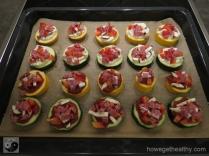 Mini-Zucchini-Pizzen Blech Zucchini Wurst