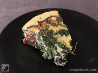 Spinat-Feta-Kuchen Stueck Teller