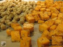 Kichererbsen-Suesskartoffel-Salat Blech CloseUp