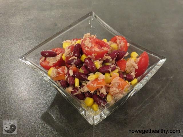 Schneller Bohnen-Mais-Salat mit Thunfisch