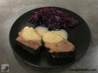 Wasserbueffelbraten aus dem Slow Cooker Teller Selleriepueree