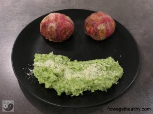 Blumenkohlbömbchen mit Brokkoli-Kartoffel-Stampf