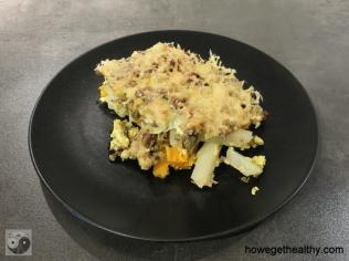 Kohlrabi-Suesskartoffel-Hackauflauf Teller